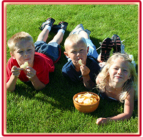 Kids enjoying Barrel O Fun Snacks